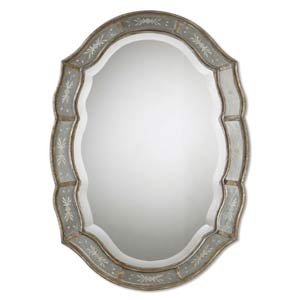 Fifi Antiqued Gold Leaf Oval Mirror