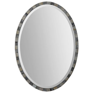 Paredes Dark Antique 29.25-Inch Oval Mosaic Mirror