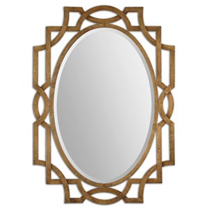 Margutta Forged Metal with Antiqued Gold Leaf Oval Mirror