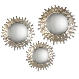 Rain Splash Silver Champagne Round Mirror, Set of Three