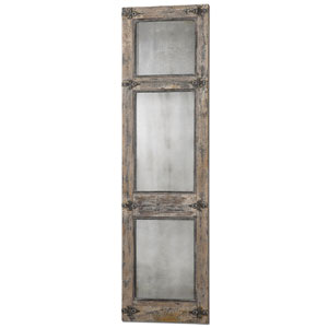 Saragano Distressed Slate Blue and Aged Ivory Leaner Mirror