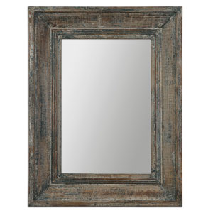 Missoula Distressed Blue, Green and Aged Wood Small Mirror