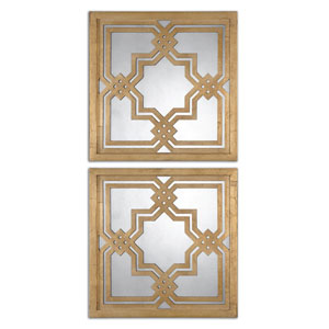Piazzale Squares Antiqued Gold Gold Square Mirror