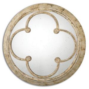 Livianus Rust Ivory Round Metal Mirror