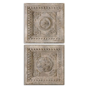 Auronzo Aged Ivory Squares Wall Art, Set Of Two