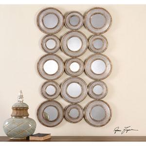 Vobbia Burnished Silver Metal Circles Mirror