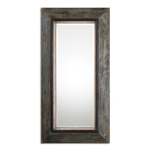 Bronwen Distressed Teal and Olive Leaner Mirror