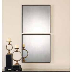 Matty Aged Black Square Mirror, Set Of Two