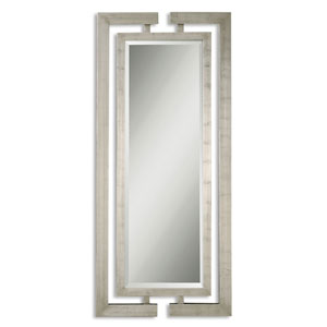 Jamal Scratched Silver Leaf Rectangular Mirror