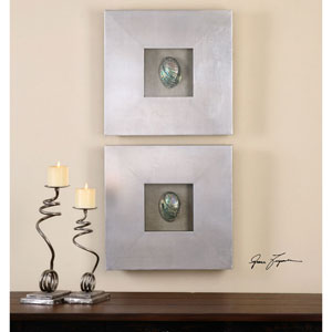 Abalone Shells Silver by Grace Feyock: 19.5 x 19.5-Inch Wall Art, Set of Two
