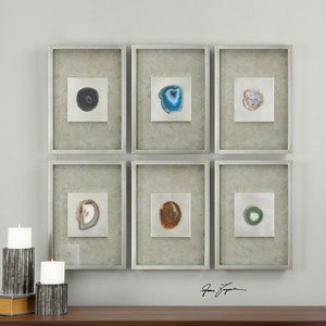 Agate Stone Silver Wall Art, Set of Six