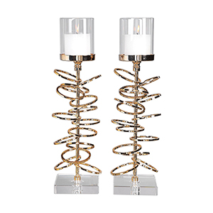 Tala Rose Gold Candleholder, Set of Two
