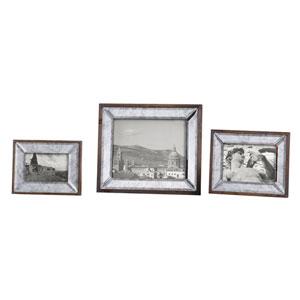 Daria Aged Pecan Antique Mirror Photo Frame Set of 3