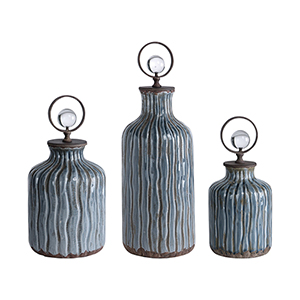 Mathias Gray and Blue Vessels, Set of 3
