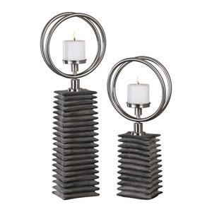 Eugenio Black Ceramic Candleholders, Set of Two