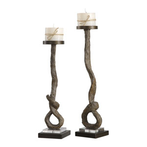 Driftwood Candleholders, Set of Two