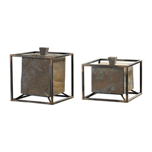 Slate Cube Boxes, Set of Two