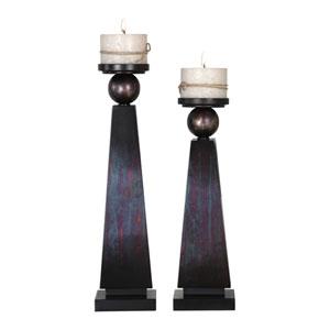 Geremia Oxidized Bronze Candleholders, Set of Two