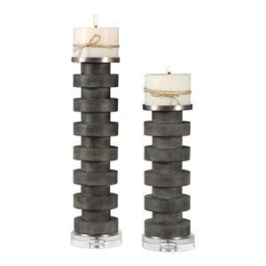 Karun Concrete Candleholders, Set of Two