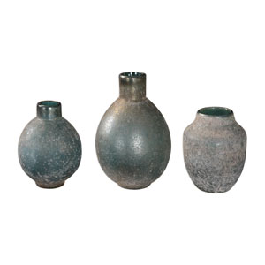 Mercede Weathered Blue-Green Vases, Set of Three