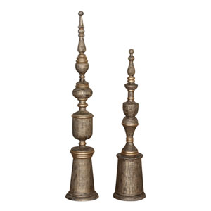 Nalini Antique Gold Finials, Set of Two