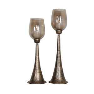 Badal Antiqued Gold Candleholders, Set of Two