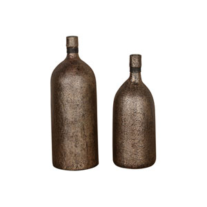 Biren Textured Antiqued Gold Vases, Set of Two
