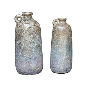 Ragini Aged Caramel and Blue Bottles, Set of 2