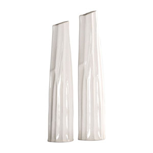 Kenley Crackled White Vases, Set of Two