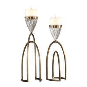 Carma Bronze and Crystal Candleholders, Set of 2