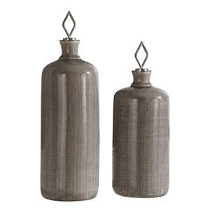 Dhara Taupe Glaze Bottles, Set of 2