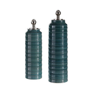 Delane Dark Teal Canisters, Set of Two