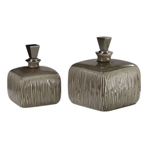 Cayson Ribbed Ceramic Bottles, Set of 2