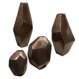 Amna Matte Nickel Vase, Set of Four