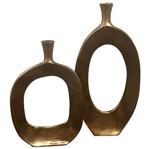 Kyler Textured Bronze Vase, Set of Two