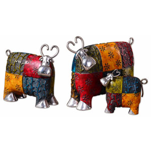 Set of Three Colorful Cow Accessories