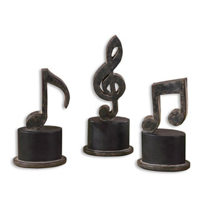 Music Notes Statues, Set of Three