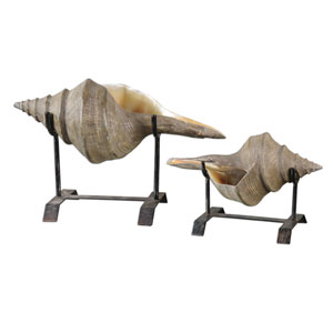 Conch Shell Sculpture, Set of Two