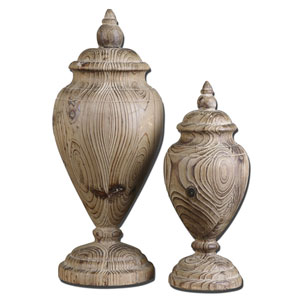 Brisco Natural Wood Finials, Set of Two