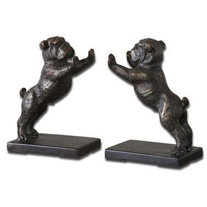 Black Bulldogs Bookends, Set Of Two