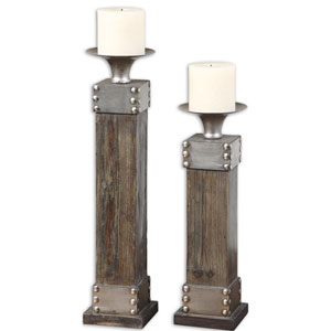 Lican Stain and Antique Silver Candleholder, Set of 2