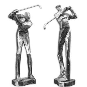 Practice Shot Silver and Matte Black Metallic Statue, Set of 2