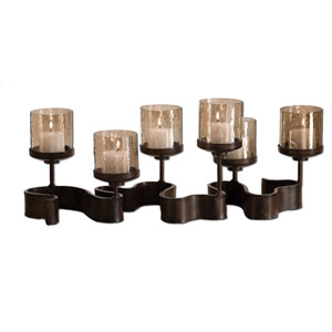 Ribbon Antiqued Bronze Candleholder