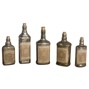 Recycled Adorned Glass Bottle Artwork, Set of 5
