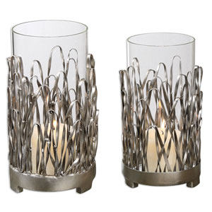 Corbis Silver and Light Champagne Candleholder, Set of 2