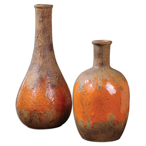 Kadam Bright Orange and Rust Brown Vase, Set of 2