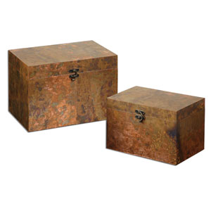 Ambrosia Oxidized Copper Box, Set of 2