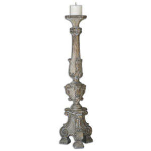Gillis Weathered Wood and Beige Candleholder