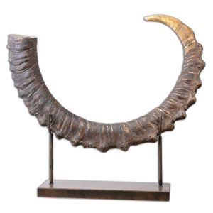 Sable Antelope Horn Sculpture with Matte Black Stand
