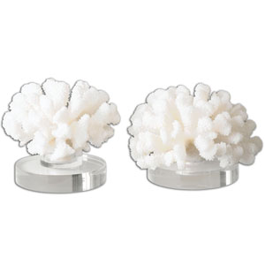 Hard Coral Textured Cream Sculpture, Set of 2